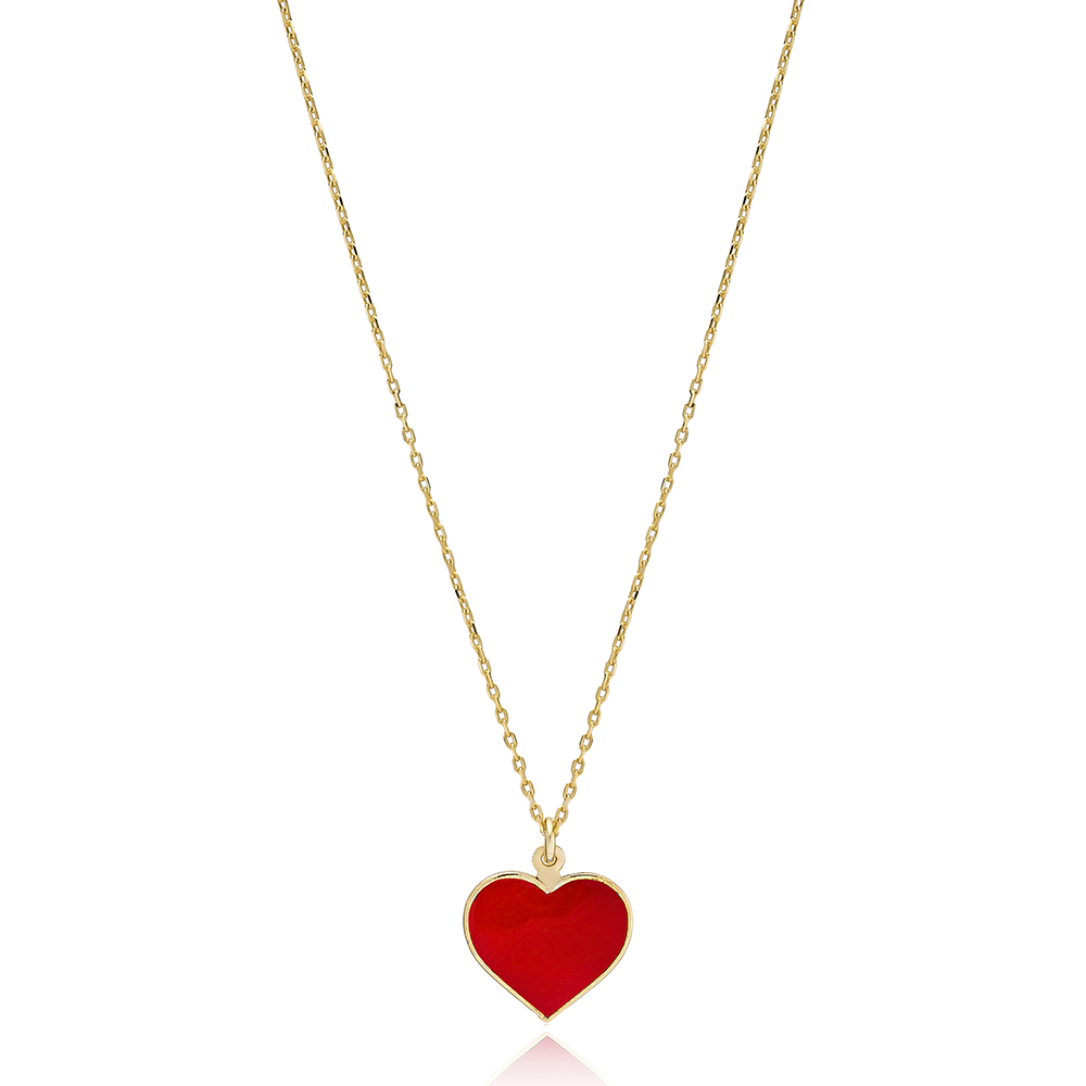Red Heart Enamel Charm Necklace Wholesale Turkish 925 Sterling Silver Jewelry