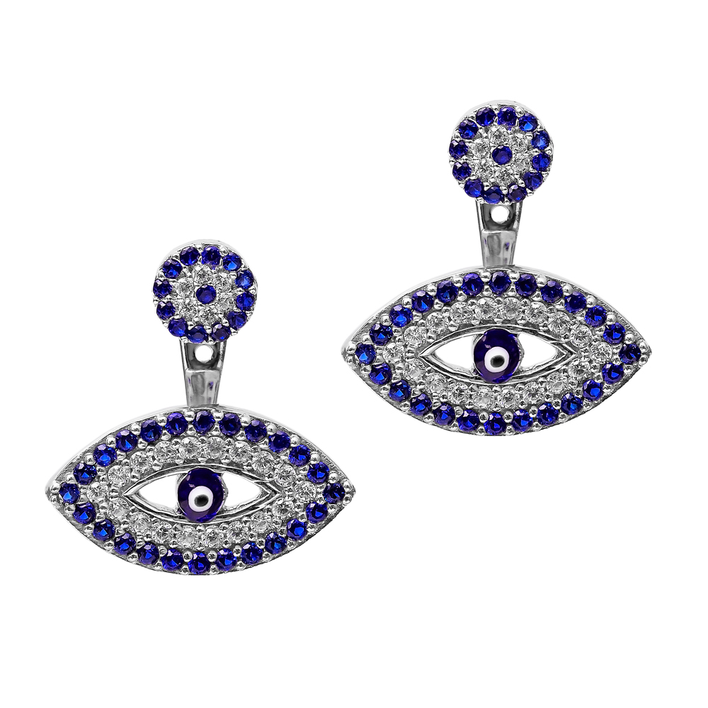 Ear Cuff Evil EyeTurkish Wholesale Handcrafted Silver Earring