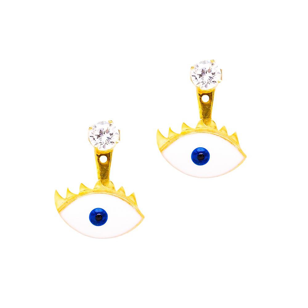 Ear Jackets Evil Eye Turkish Wholesale Sterling Silver Earring