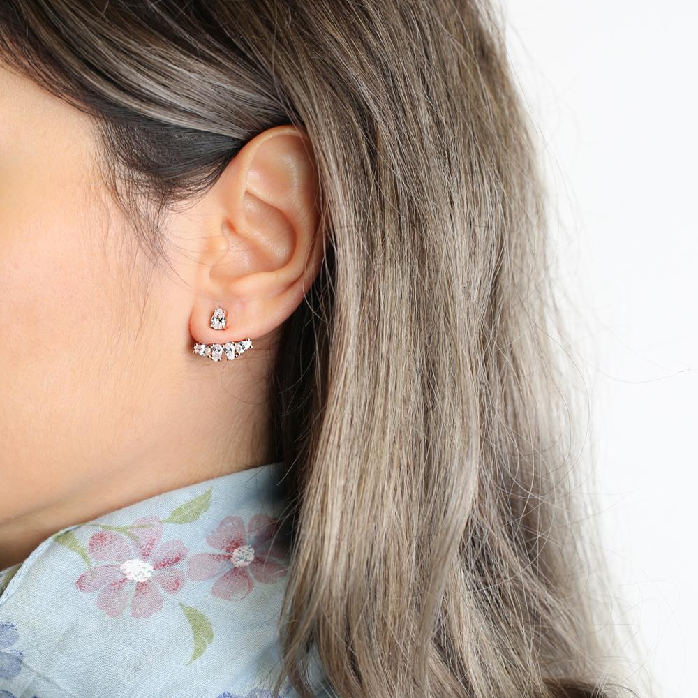 Silver Ear Jacket Trendy Earring Turkish Wholesale Handcrafted Jewelry