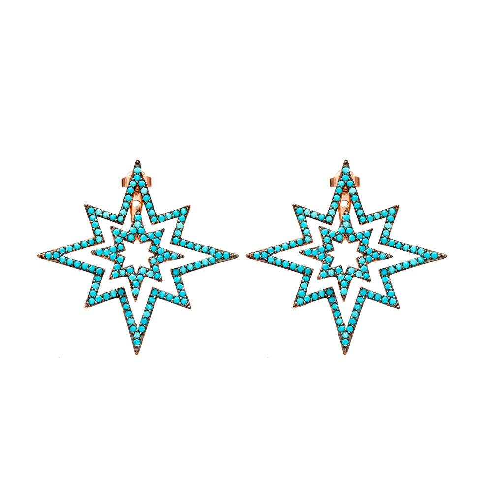Pole Star Design Earring Wholesale Turkish Sterling Silver Earring