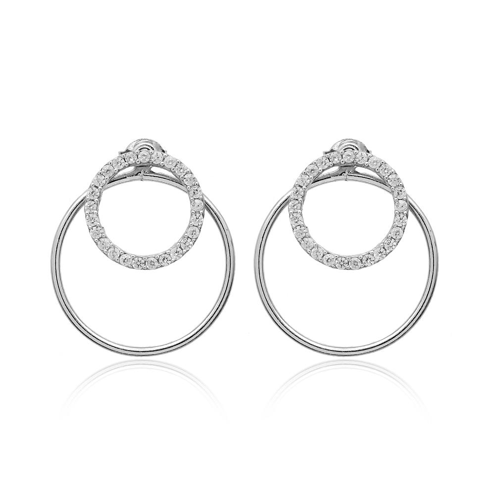 Round Shape Sterling Silver Earrings Wholesale Sterling Silver Chain Earring