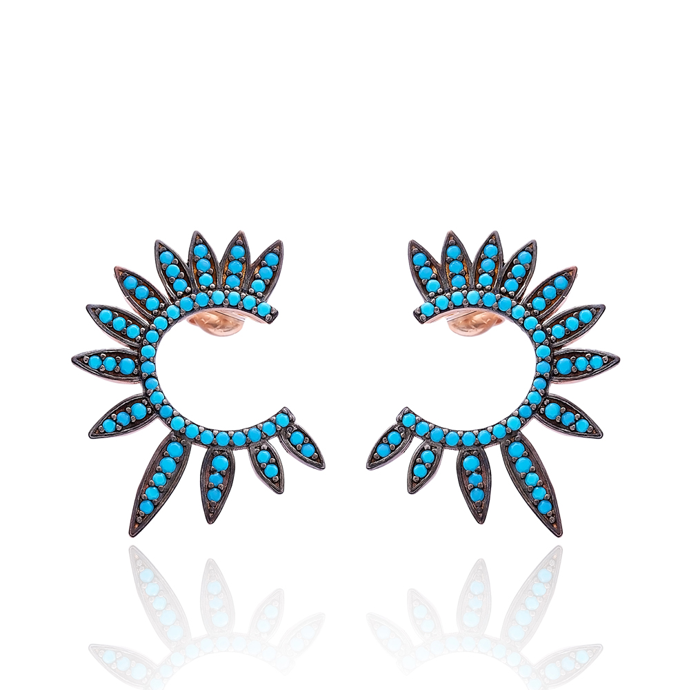 Half Round Of Wing In Stud Earring Turquoise Wings Earrings Turkish Handmade Wholesale 925 Sterling Silver Jewelry