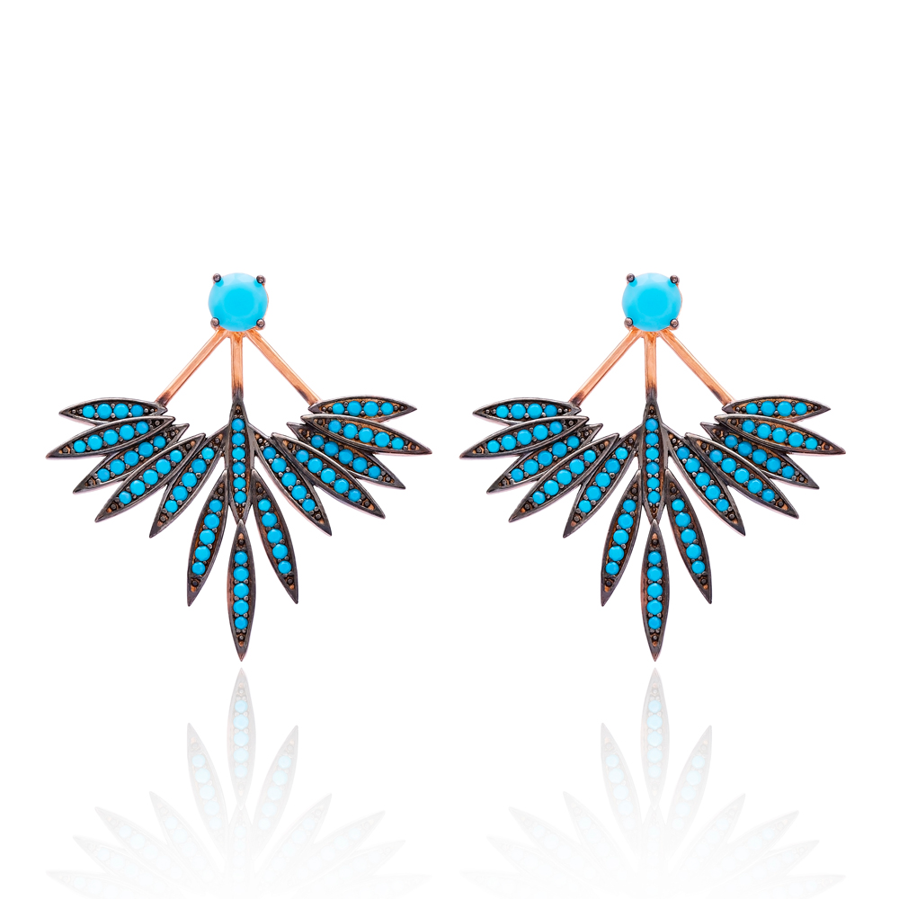 Turquoise Stone Phoenix Wings Earrings Turkish Wholesale 925 Sterling Silver Double Side Earring