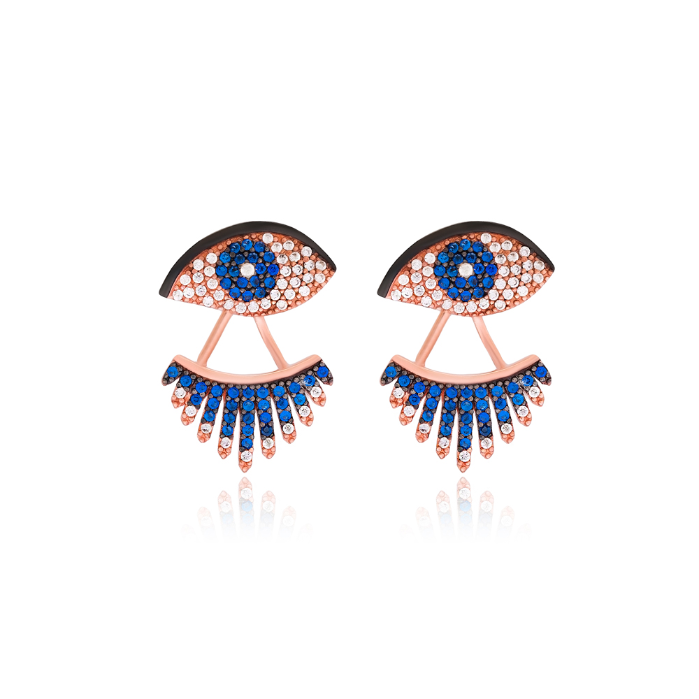 Evil Eye Design Stud Earrings Turkish Wholesale 925 Sterling Silver Jewelry