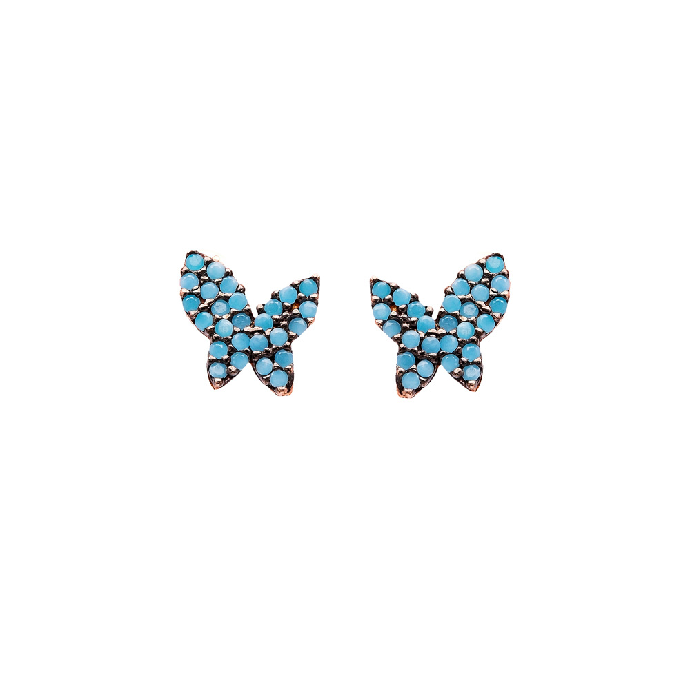 Micro Turquoise Butterfly Turkish Wholesale Silver Stud Earring