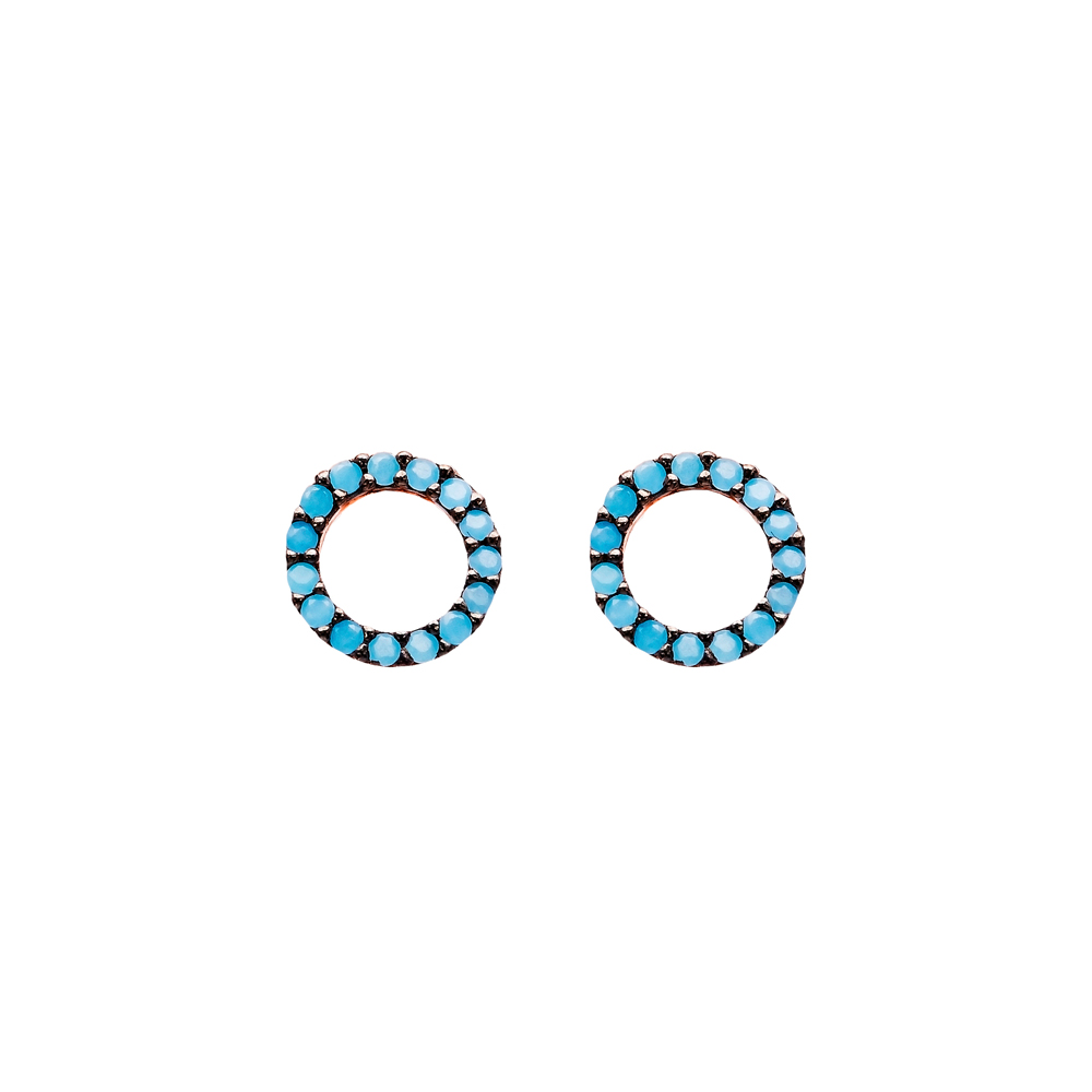 Micro Turquoise Round Turkish Wholesale Silver Stud Earring