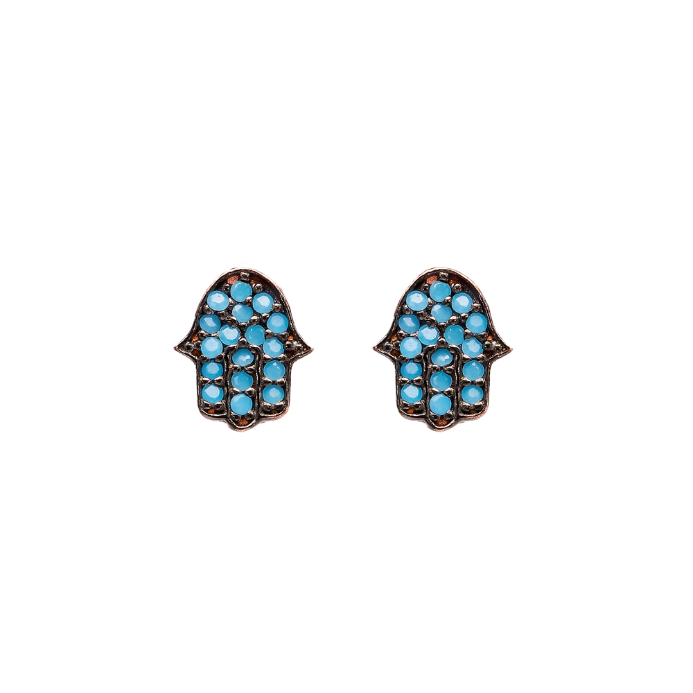 Micro Turquoise Hamsa Turkish Wholesale Silver Stud Earring