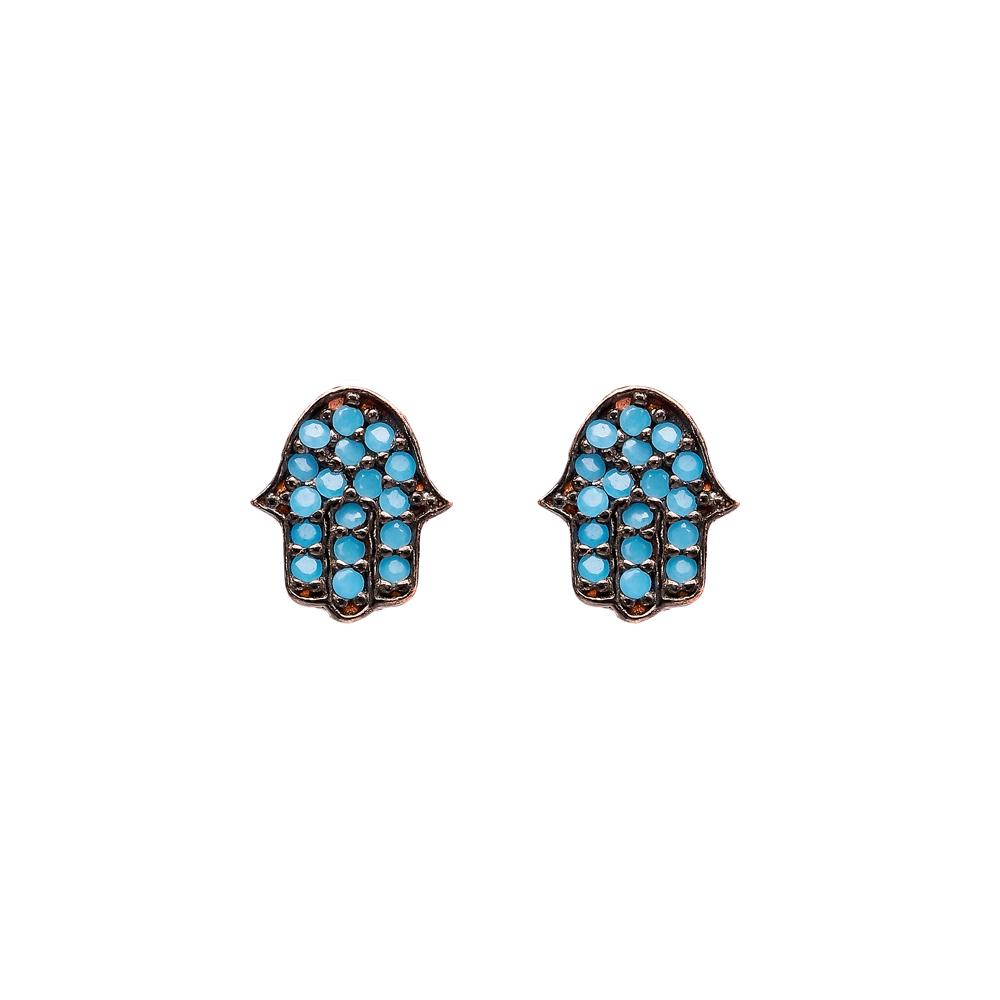 Micro Turquoise Hamsa Turkish Wholesale Silver Stud Earring