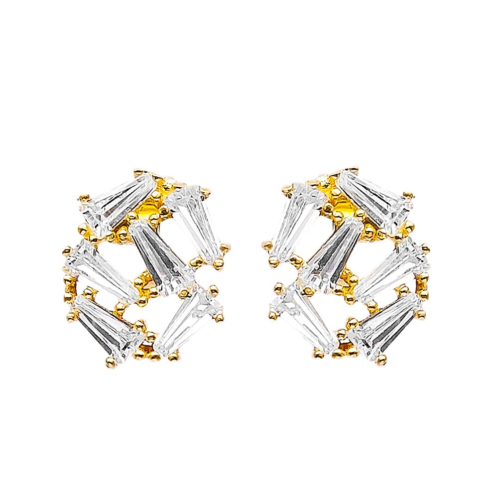 Minimal Stud Earrings Baguette Design Turkish Wholesale Handmade 925 Sterling Silver Jewelry