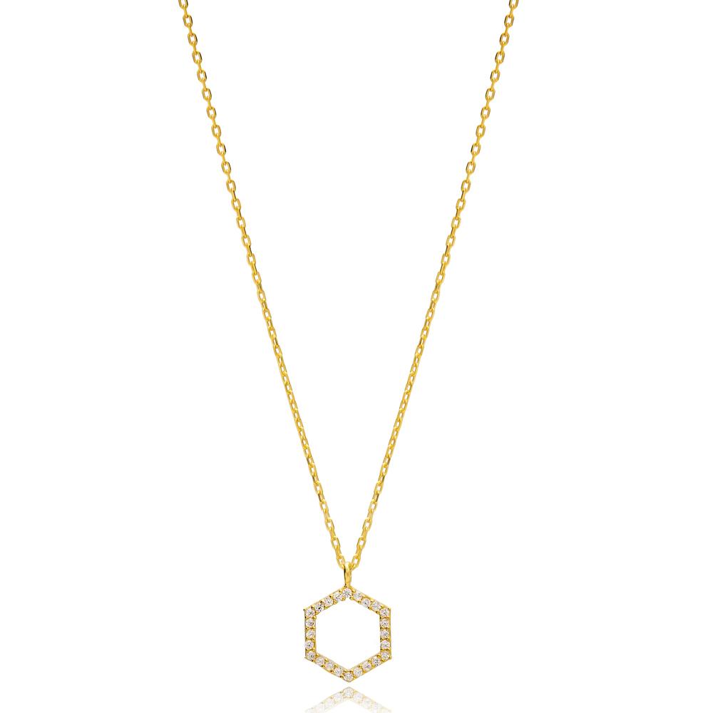 Hexagon Geometric Shape Charm Pendant Turkish Handmade 925 Sterling Silver Jewelry