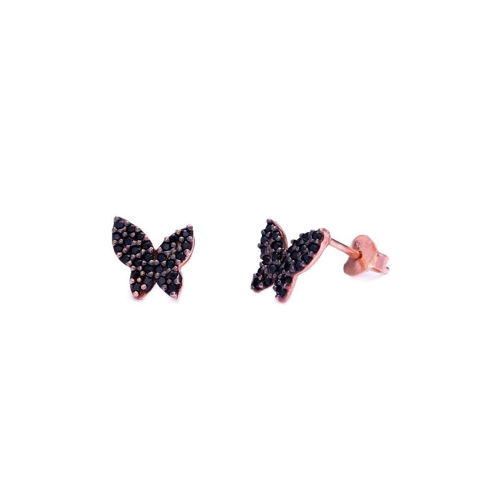 Black Zircon Butterfly Design 925 Sterling Silver Stud Earring Fashion Trendy Wholesale Jewelry