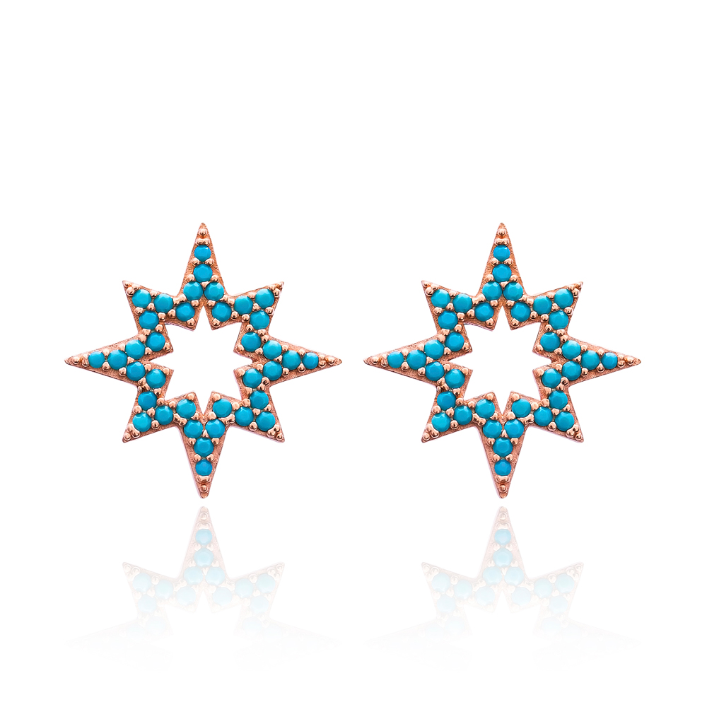 Rose Gold Plated Pole Star Design Earring Wholesale Turkish Sterling Silver Earring Jewelry