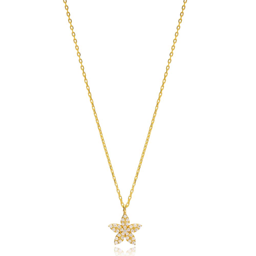 Flower Design Charm Pendant Turkish Handmade 925 Sterling Silver Jewelry