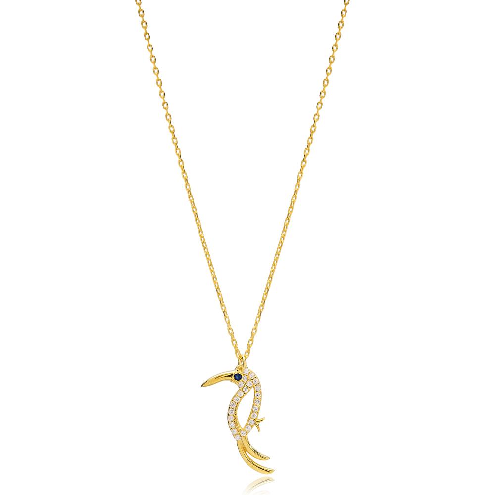 Parrot Charm Design Pendant Turkish Handmade 925 Sterling Silver Jewelry
