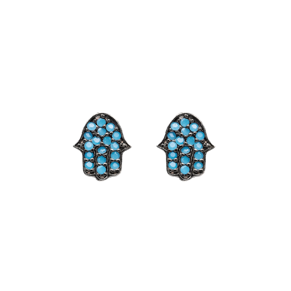 Micro Turquoise Hamsa Design Turkish Wholesale Silver Stud Earring