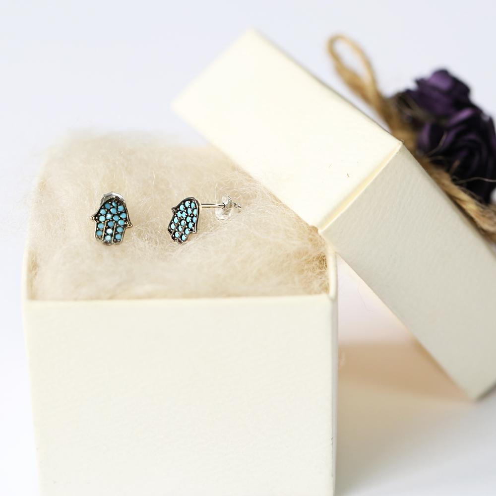 Micro Turquoise Hamsa Design Turkish Wholesale Silver Stud Earring