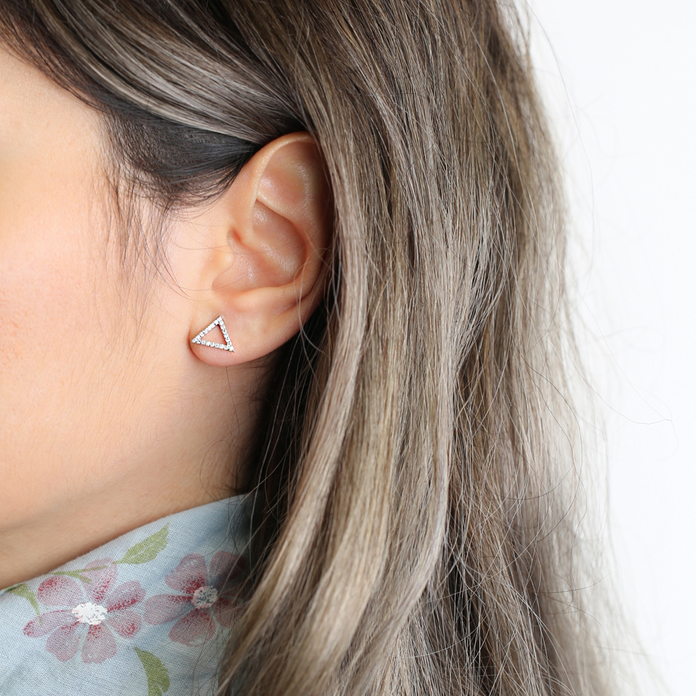 Triangle Shape Sterling Silver Stud Earring Wholesale Handcrafted Silver Earring