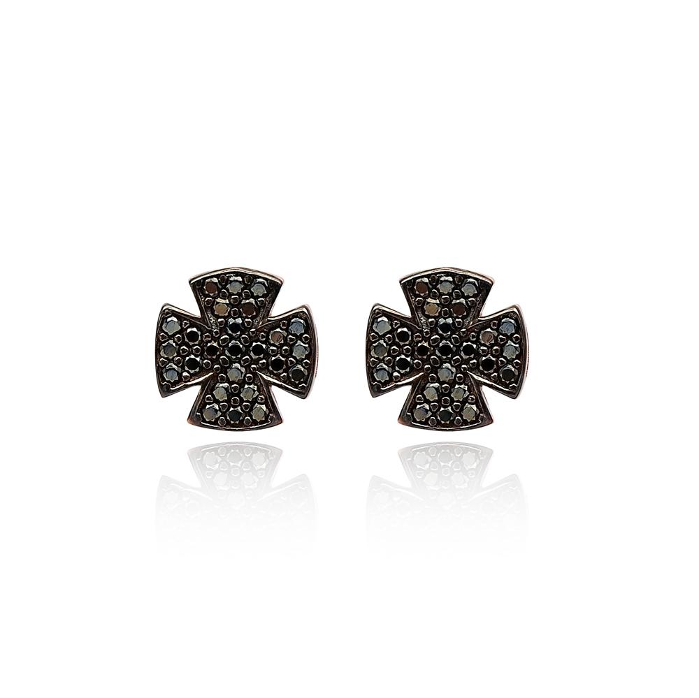 Stud Cross Earrings Wholesale Turkish Sterling Silver Earring