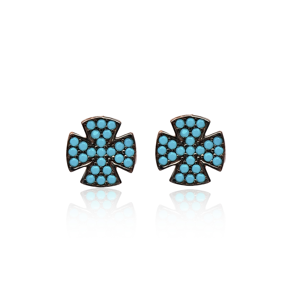 Stud Cross Earrings Wholesale Turkish Sterling Silver Earring