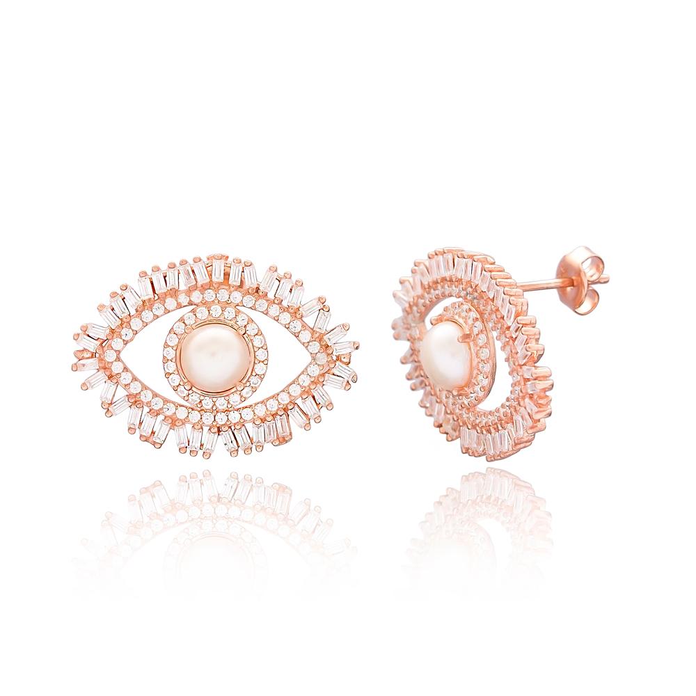 Stud Evil Eye Baguette Zircon Earring Wholesale 925 Sterling Silver Jewelry
