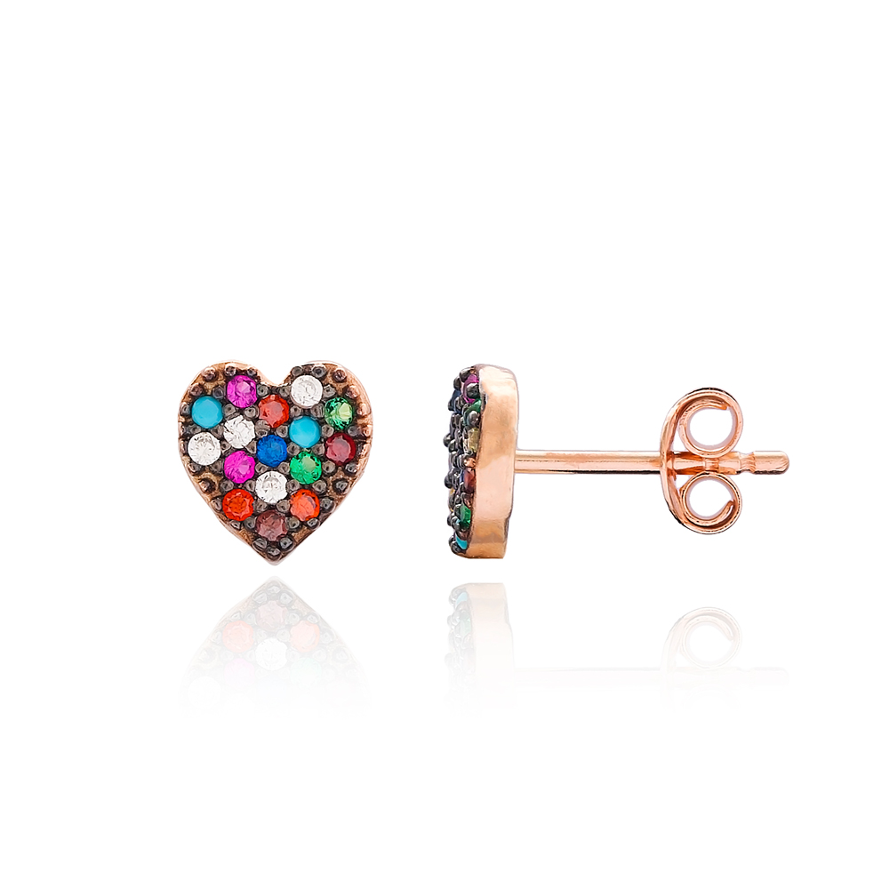 Minimal Heart Stud Silver Earring Wholesale 925 Sterling Silver Jewelry