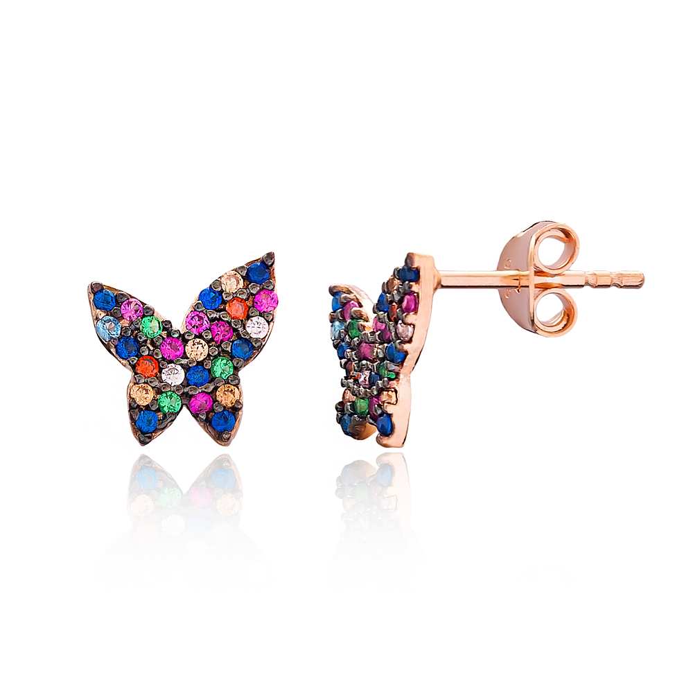 Minimal Butterfly Stud Silver Earring Wholesale 925 Sterling Silver Jewelry
