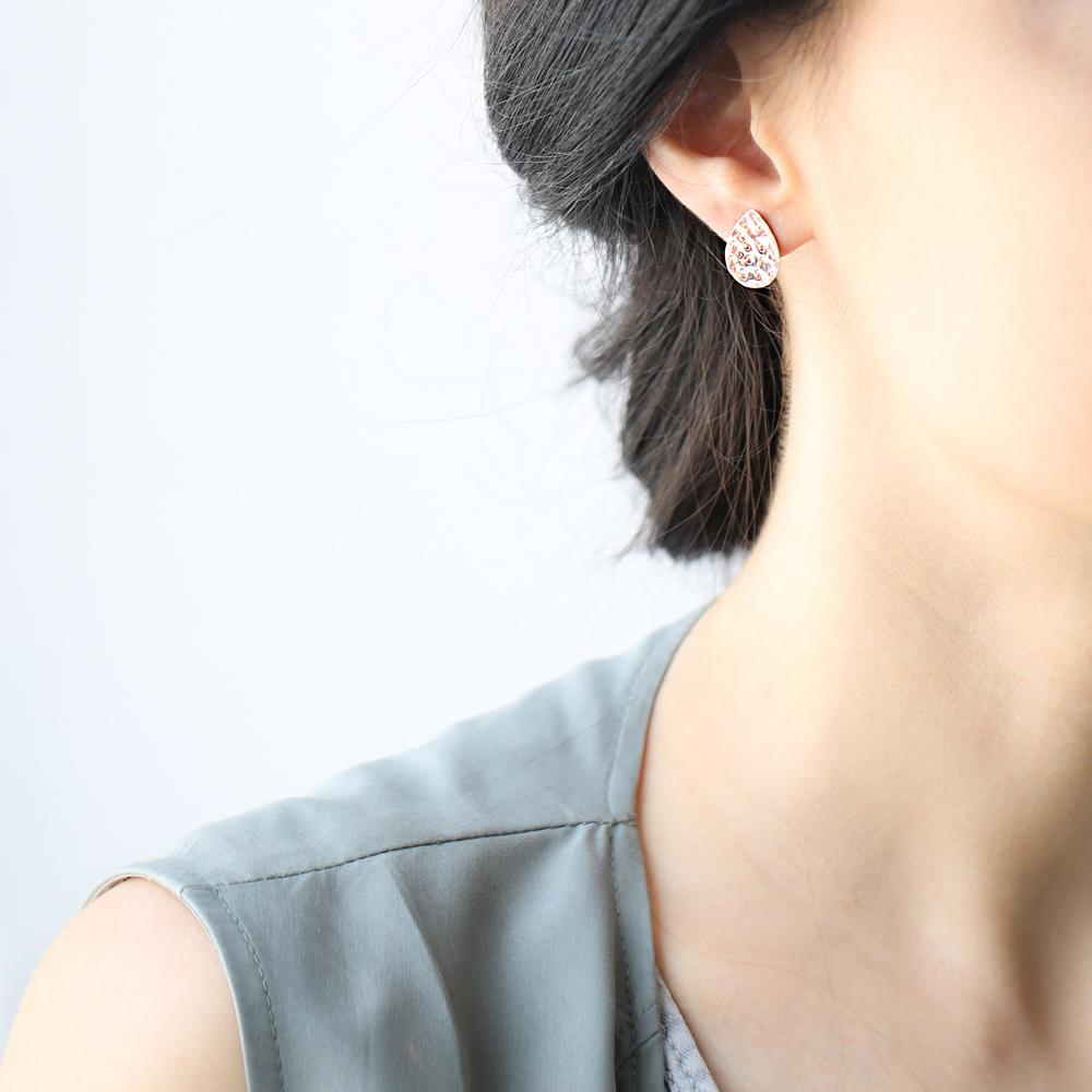 Stud Pear Hammered Earrings Turkish Wholesale Sterling Silver Earring
