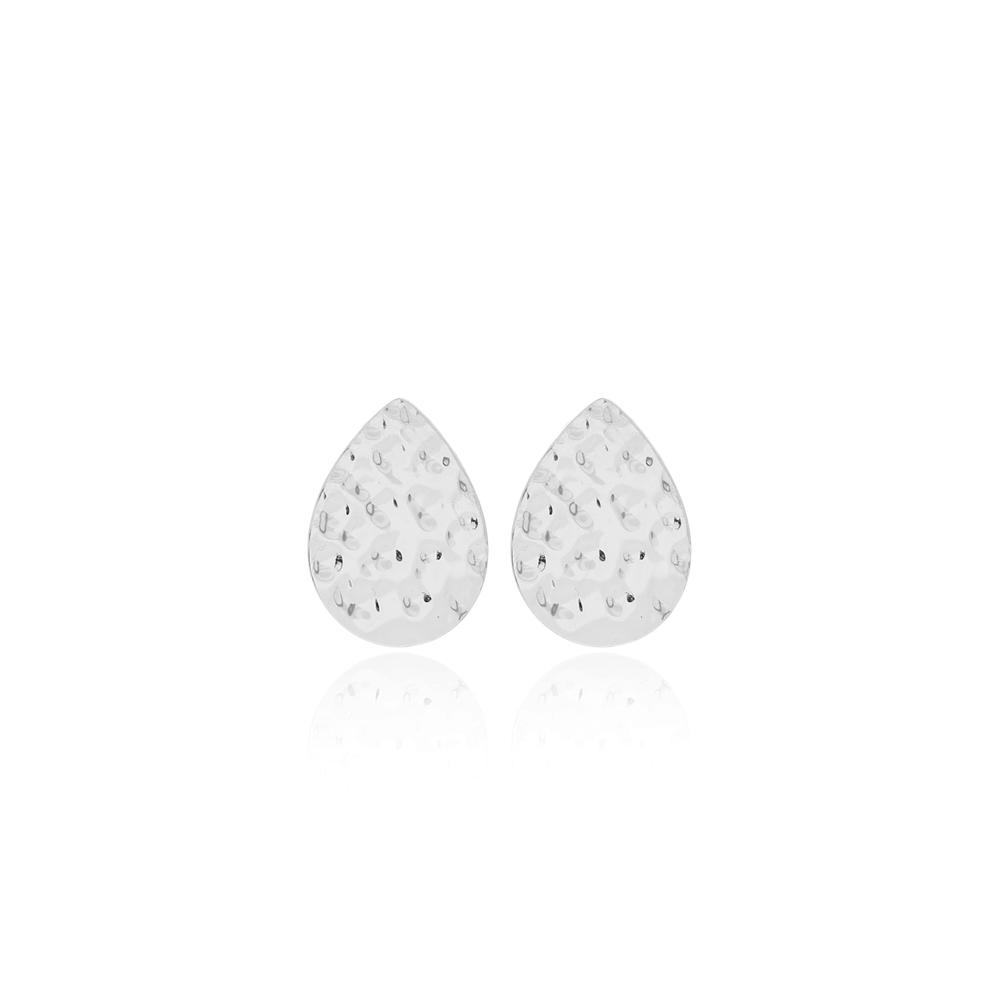 Stud Pear Hammered Earrings Turkish Wholesale 925 Sterling Silver Earring