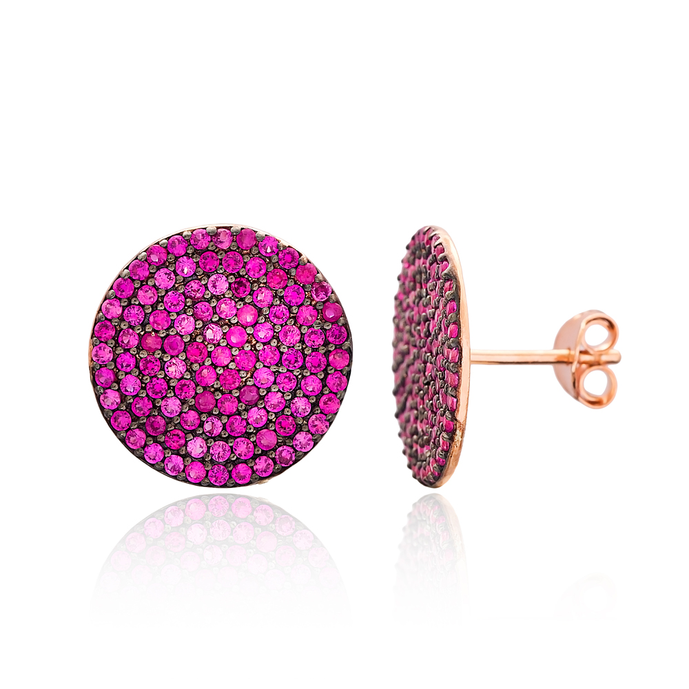 Ruby Rounded Stud Silver Earring Wholesale 925 Sterling Silver Jewelry