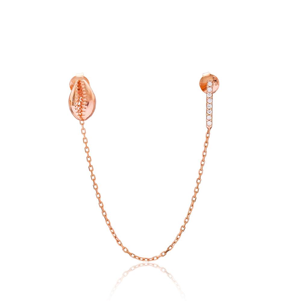 Chain Stud Seashell Earrings Turkish Wholesale Sterling Silver Earring