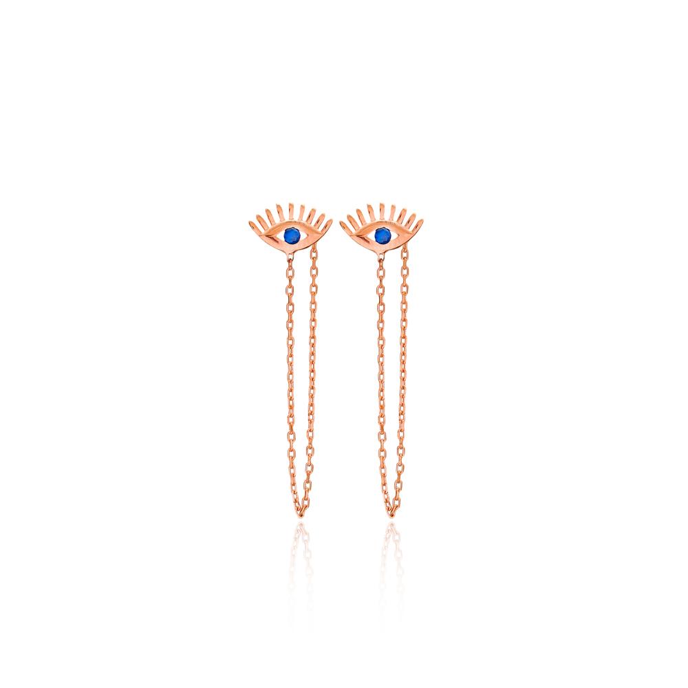 Evil Eye Chain Earrings Turkish Wholesale 925 Sterling Silver Jewelry