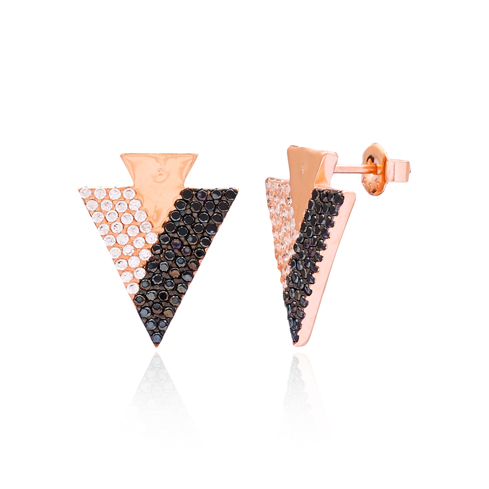 Triangle Shape Earring Wholesale Handmade Turkish 925 Silver Sterling Jewelry