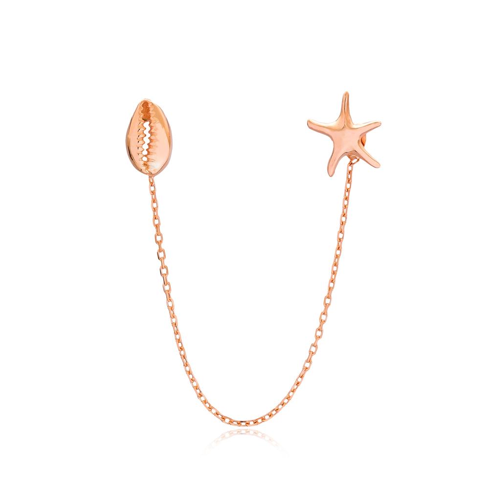 Star Chain Stud Seashell Earrings Turkish Wholesale Sterling Silver Earring
