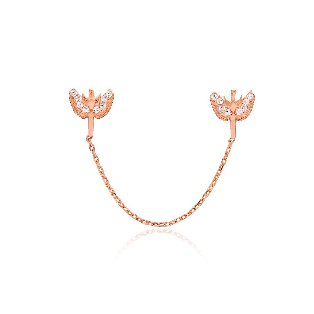 Chain Stud Earrings Turkish Wholesale Sterling Silver Earring