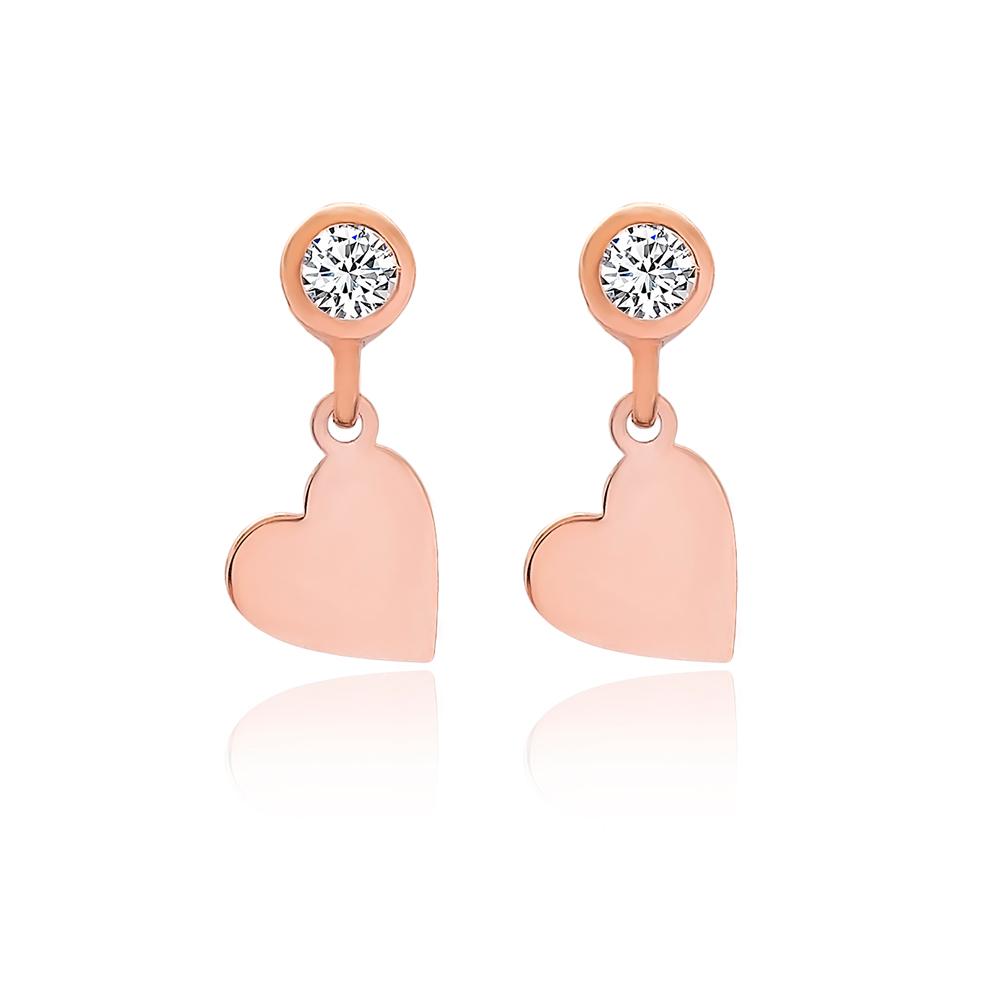 Heart Design Stud Earrings Turkish Wholesale 925 Sterling Silver Jewelry
