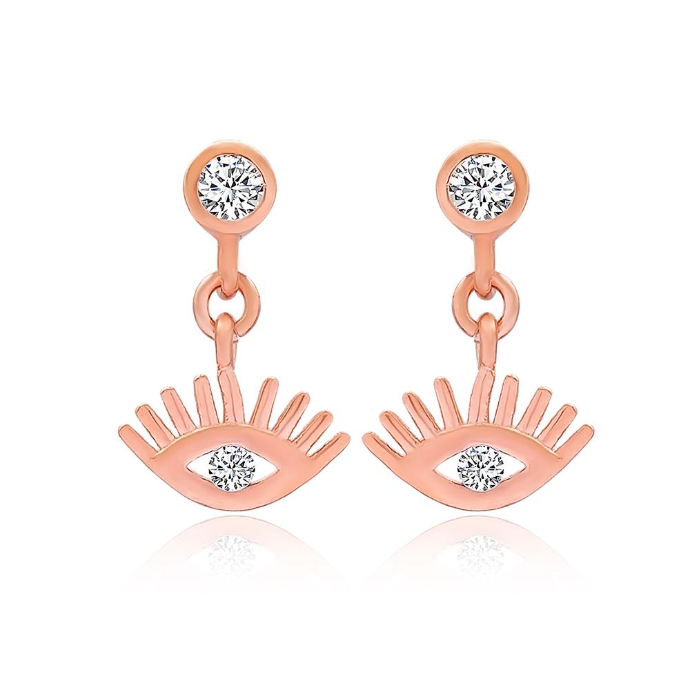 Evil Eye Design Stud Earrings Turkish Wholesale 925 Sterling Silver Jewelry