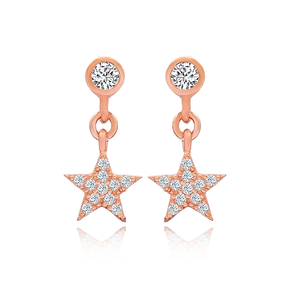 Star Design Stud Earrings Turkish Wholesale 925 Sterling Silver Jewelry