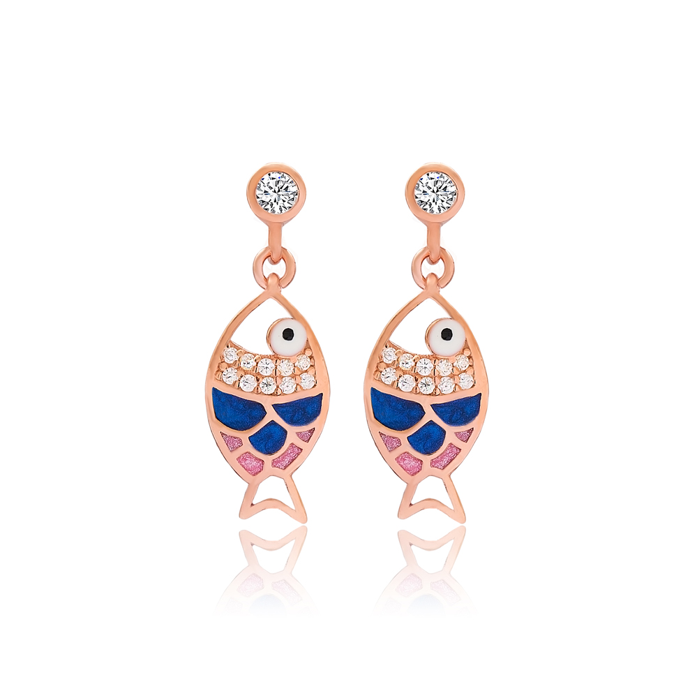 New Fish Design Earrings Turkish Wholesale 925 Sterling Silver Jewelry