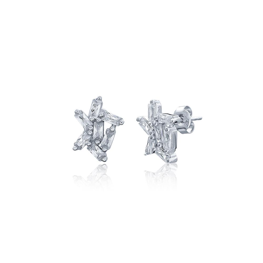 Elegant Earrings Turkish Wholesale Handmade 925 Sterling Silver Jewelry
