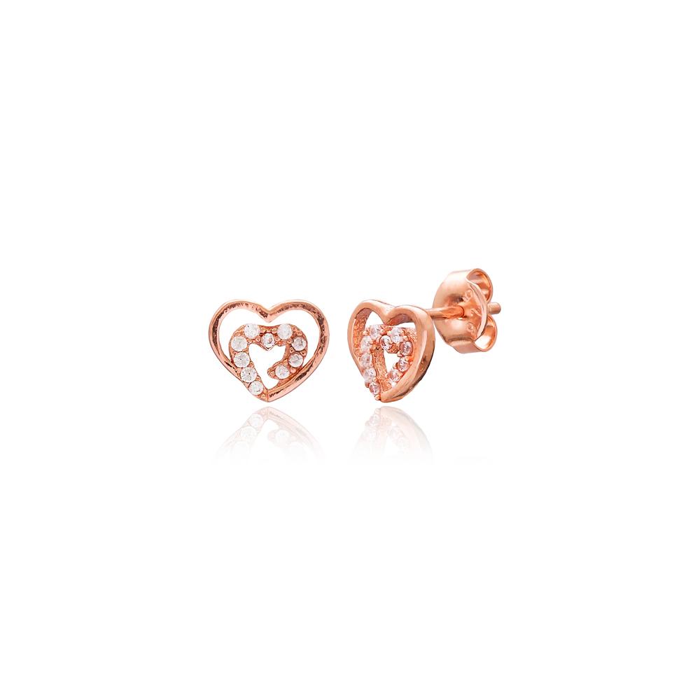Elegant Heart Earring Turkish Wholesale Handmade 925 Sterling Silver Jewelry