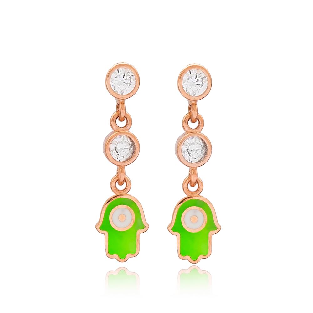 Green Enamel Hamsa Design Stud Earrings Turkish Wholesale 925 Sterling Silver Jewelry