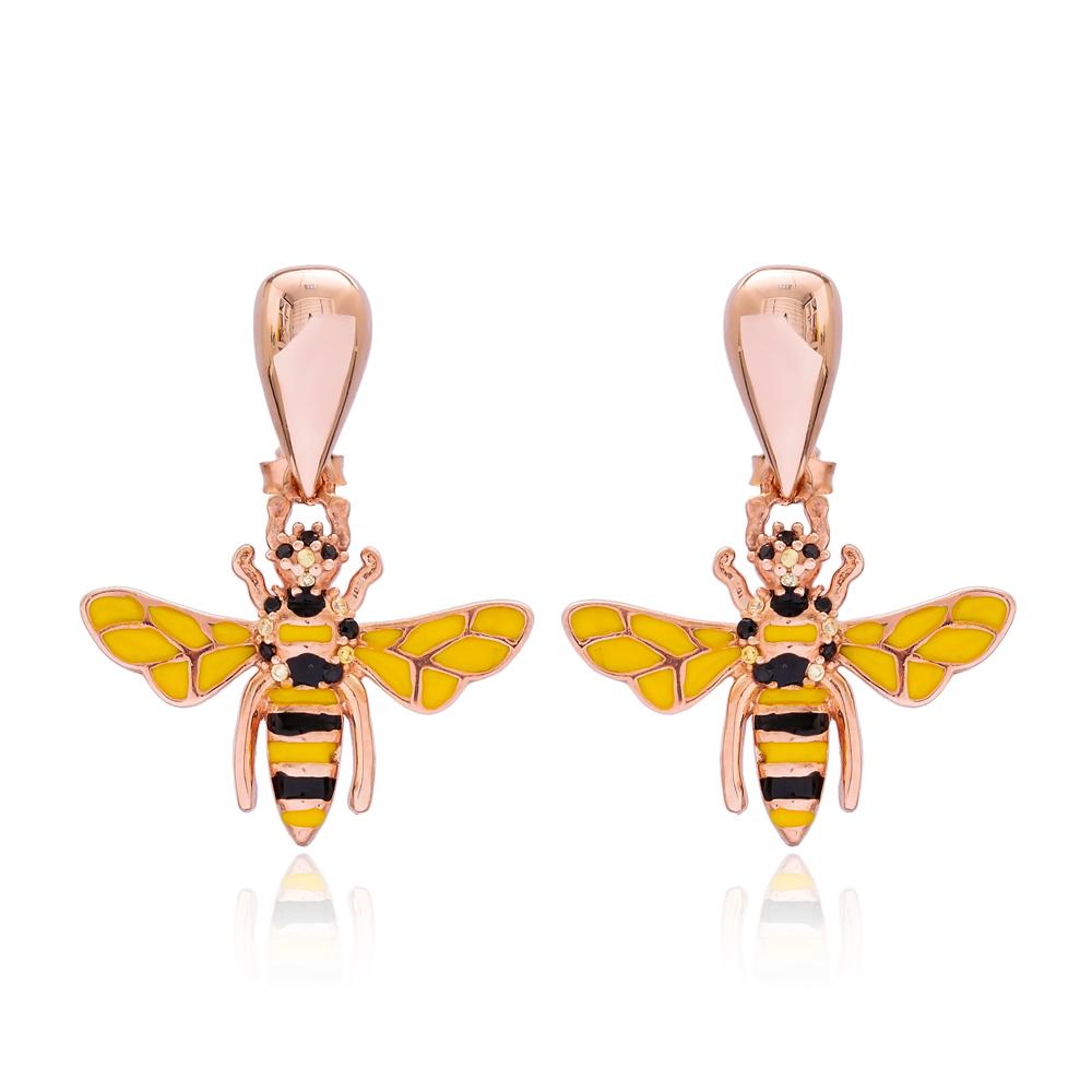 Bee Charm Design Stud Earrings Turkish Wholesale 925 Sterling Silver Jewelry