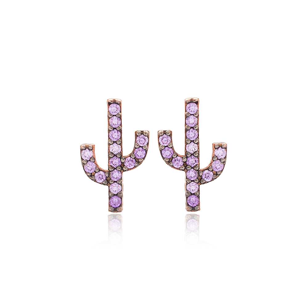 Amethyst Stone Cactus Design Stud Earrings Turkish Wholesale 925 Sterling Silver Jewelry