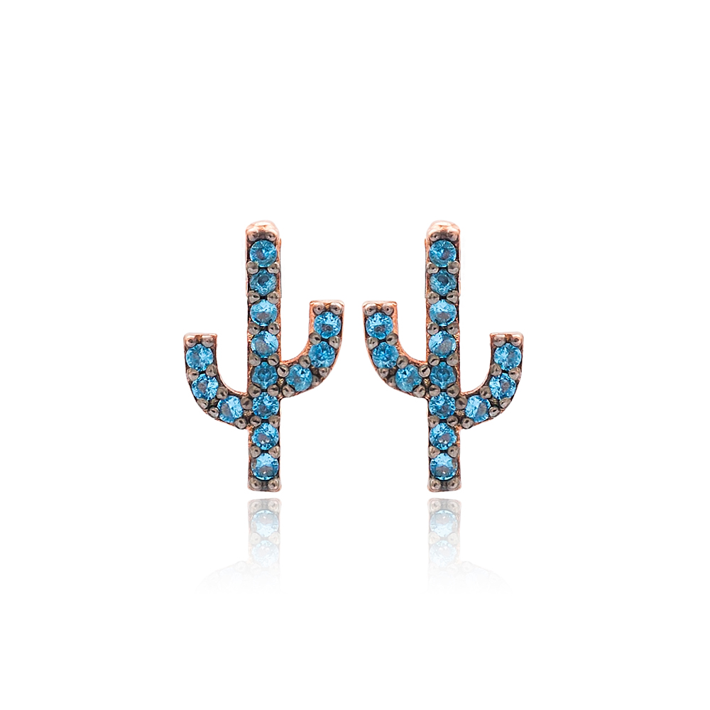 Blue Stone Cactus Design Stud Earrings Turkish Wholesale 925 Sterling Silver Jewelry