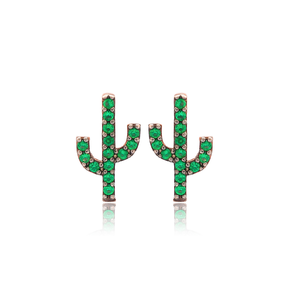 Emerald Stone Cactus Design Stud Earrings Turkish Wholesale 925 Sterling Silver Jewelry