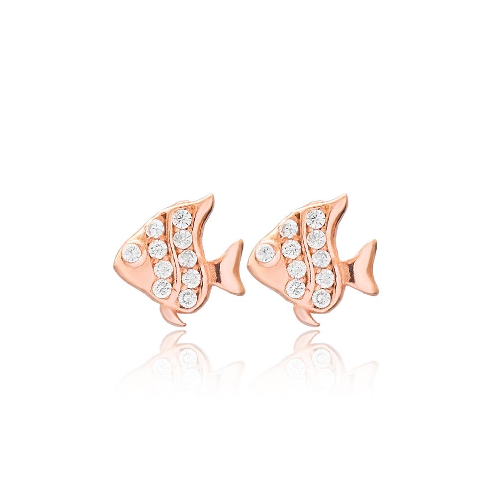 Fish Design Stud Earrings Turkish Wholesale 925 Sterling Silver Jewelry