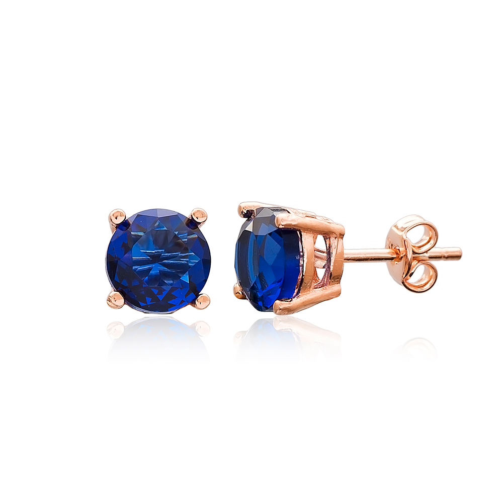 Sapphire Stone Solitaire Stud Silver Earring Wholesale 925 Sterling Silver Jewelry