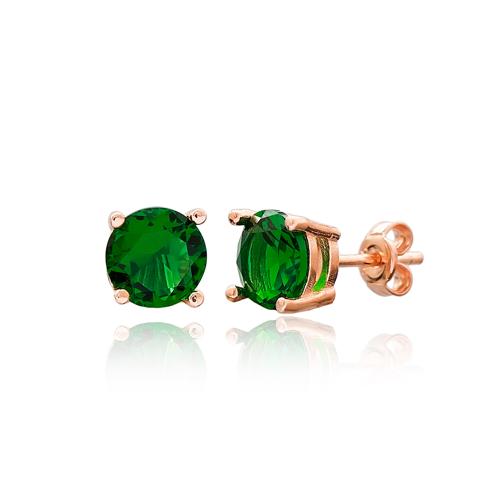 Emerald Stone Solitaire Stud Silver Earring Wholesale 925 Sterling Silver Jewelry