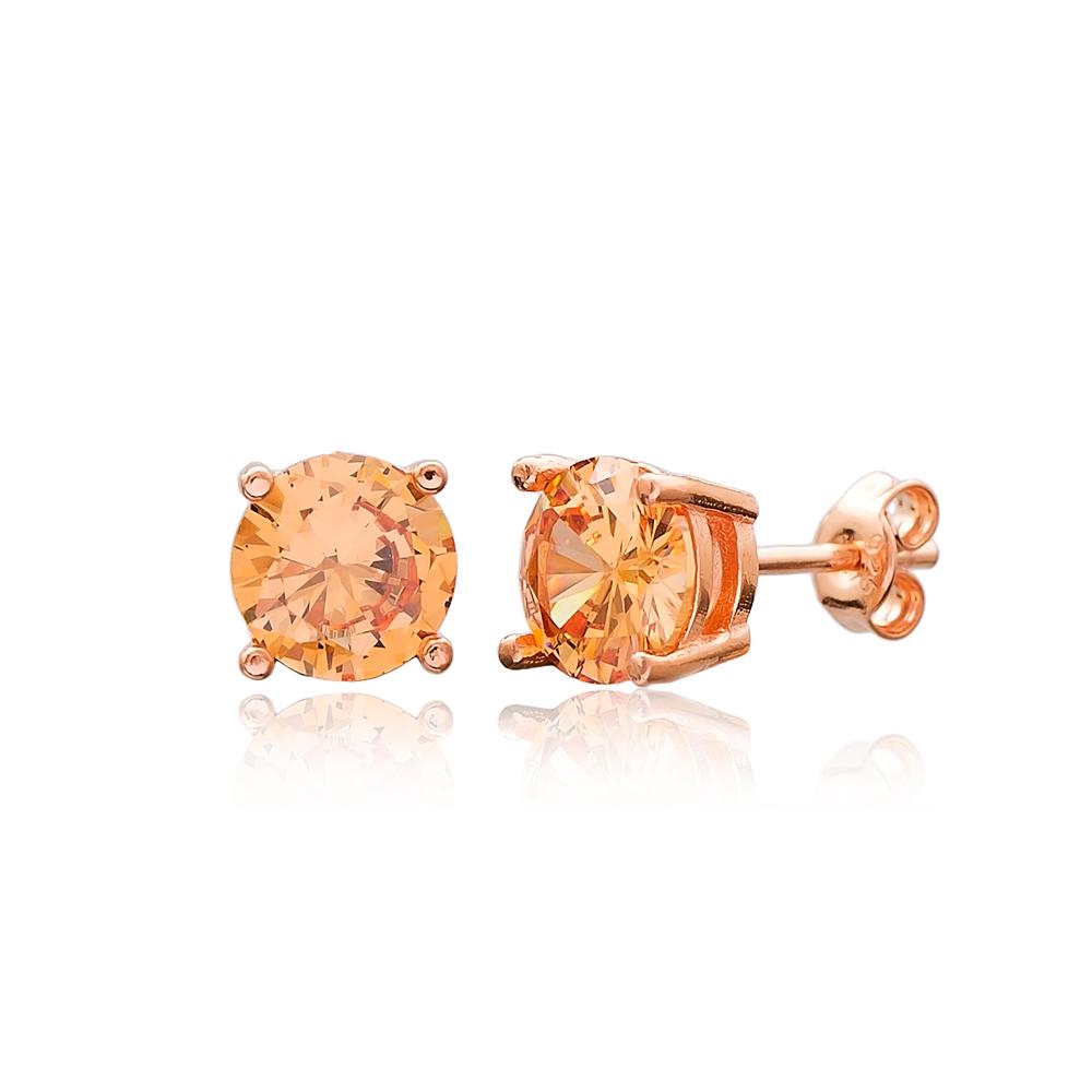 Orange Zircon Stone Solitaire Stud Silver Earring Wholesale 925 Sterling Silver Jewelry